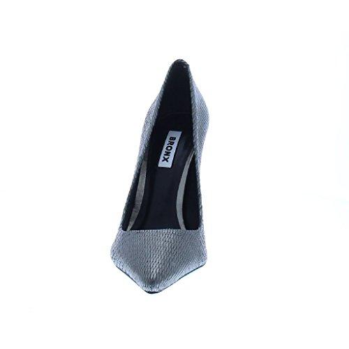 Bronx - Zapatos de vestir de piel para mujer Negro negro 36 gris