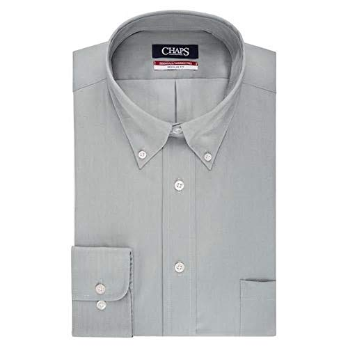 Chaps Men's Regular-Fit Wrinkle-Free Herringbone Dress Shirt (Steel, 16-16 1/2 34-35) - Herringbone Wrinkle Free Dress Shirt