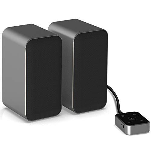 ZIHYO 컴퓨터 스피커 알루미늄 주거를 가진 10WX2 블루투스 5.0PC 스피커 데스크탑 | 노트북을위한 게임 스테레오 스트리밍을 가진 터치 컨트롤러 DSP 소리를 최적화 내장 마이크