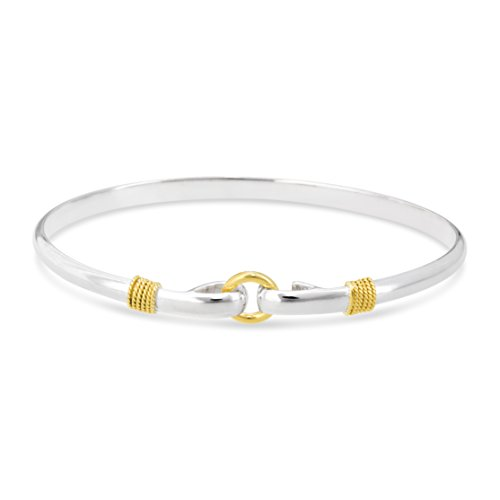 - Center Circle Porthole Cape Cod Style Bracelet 925 sterling silver and 14k Gold Nautical Accents (6.5)