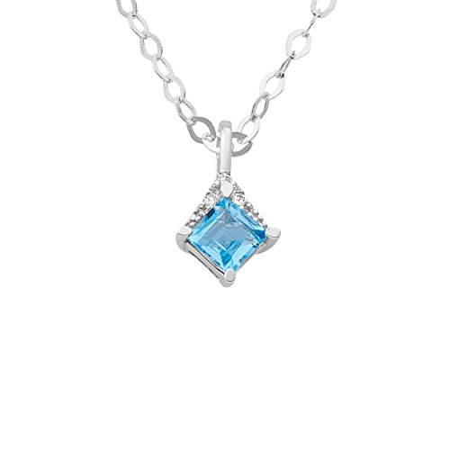 Miore - MG9179N - Collier Femme - Or Blanc 9 Cts 375/1000 1.81 Gr - Topaze bleue