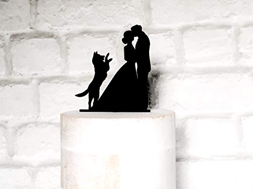 Bride and Groom Silhouette Wedding Cake Topper with Dog Wedding Cake Topper with German Shepherd Cake Topper win Dog Pet Wedding (German Shepherd Cake Topper)