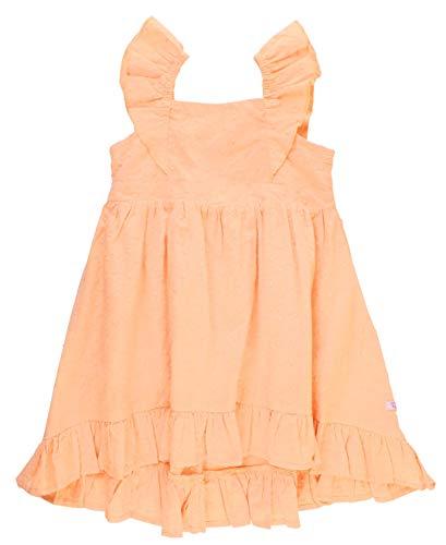 (RuffleButts Little Girls Salmon Swiss Dot Flutter Dress - 4T)