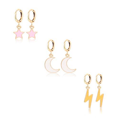 - BSJELL Small Hoop Huggie Earrings for Women CZ Moon Star Lightning Bolt Hoop Drop Dangle Earrings Sets Fashion Jewelry 3 Pairs