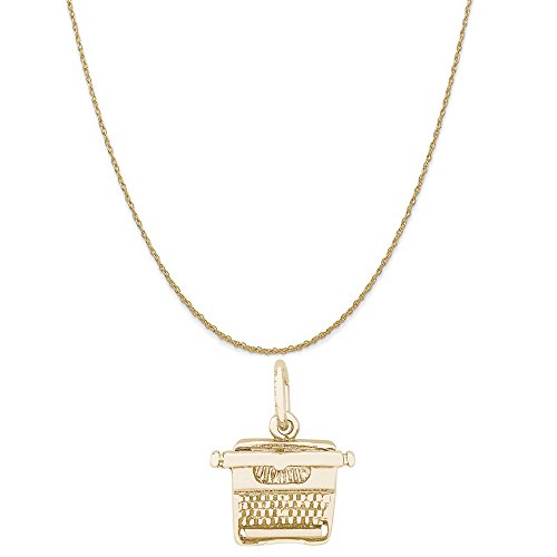 Rembrandt Charms 14K Yellow Gold Typewriter Charm on a 14K Yellow Gold Rope Chain Necklace, 20