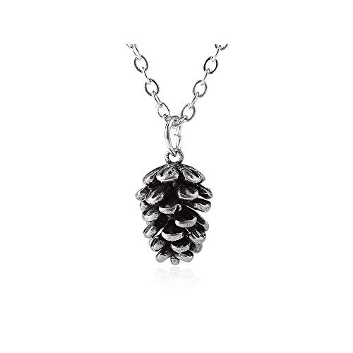 Plant Specimen Pine Nuts Pendant Necklace,Personality Nut Pine Ball Choker Necklace for Women Girls Birthday Gifts (Silver)]()