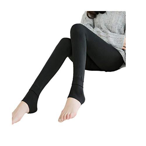 POQOQ Leggings Women Plush Cashmere Casual Thick Leggings Super Elastic Slim Free Size Black