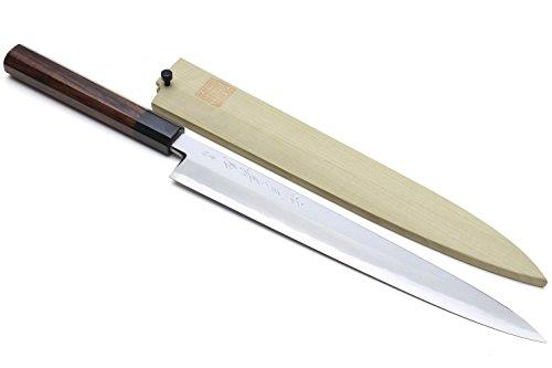 Yoshihiro Hongasumi Blue Steel Yanagi Sushi Sashimi Japanese Knife Rosewood Handle (240mm/9.5'') by Yoshihiro (Image #6)