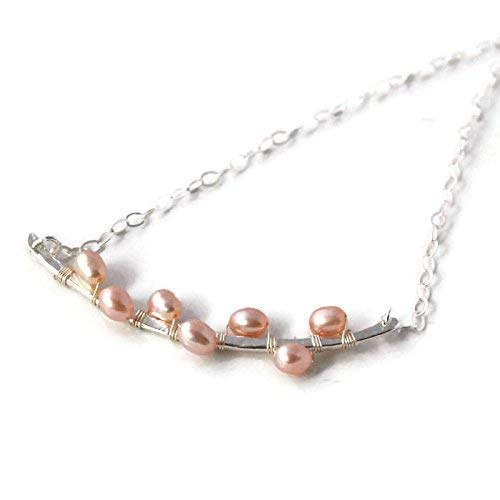 Horizontal Layering Bar Pearl Necklace Sterling Silver Peach Freshwater Cultured Gift for Her Minimal Geometric Women's Fashion Jewelry 17 Inch ()