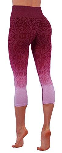 Vesi Star Women's Ombre Flexible Exercise Capri Pants (Small, Burgundy Aztec)