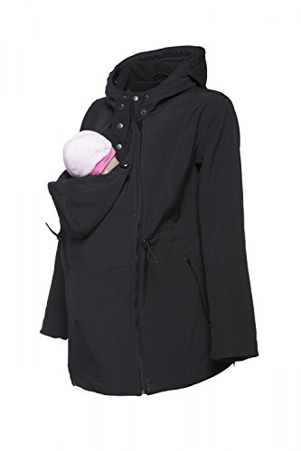 Happy Mama Womens Maternity Softshell Jacket Hood Carrier Removable Insert. 447p (Black, US 8, XL) by Happy Mama