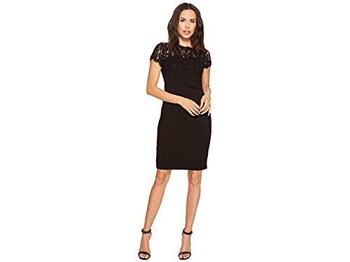 Papell Dress Black Adrianna (Adrianna Papell Women's CYNTHA LACE and Kint Crepe Sheath, Black, 8)