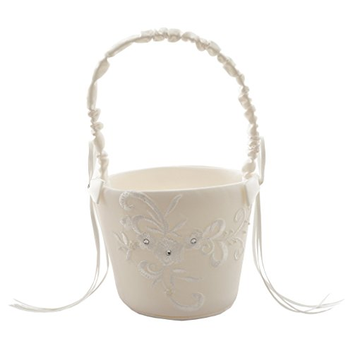 Wedding Ceremony Party Flower Basket Love Case Satin Bowknot and Rose Flower Basket Wedding Party by i Dui Bridal