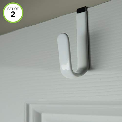 Evelots Over The Door Metal Hooks-Plastic Coated-Steel-Towel-Handbag-Coat-Set/2 ()