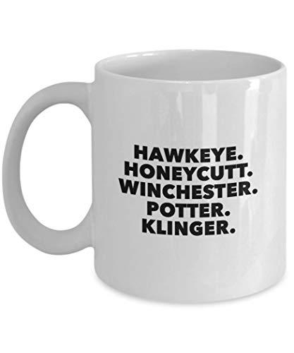 MASH tv show character list coffee mug Hawkeye Pierce BJ Honeycutt Charles Winchester Sherman Potter Max Klinger 70s 80s cup