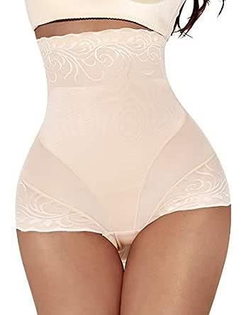 Larry&Marry Women Body Shaper Seamless Butt Lifter Shapewear Hi-Waist Waist Trainer Tummy Control Panty - Beige - Small