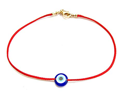 kabbalah red string 14k solid gold bracelet blue evil eye glass bead for good luck and protection ()