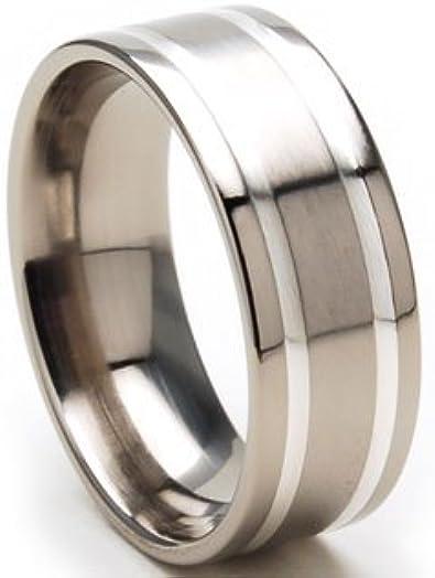 Titanium Bands For Men 8mm Mens Titanium Rings Wedding Band Sz 4-17