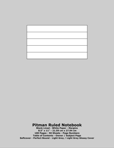 (Pitman Ruled Notebook: Blank Lined - White Paper - 8.5