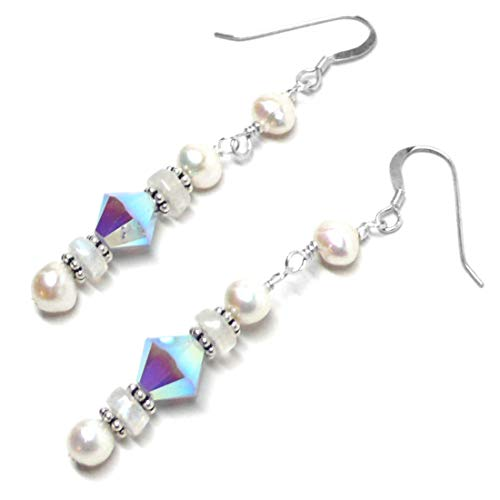Moonstone Austrian Crystal Sterling Silver Cultured Freshwater Pearl Earrings