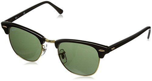 Ray-Ban CLUBMASTER - EBONY/ ARISTA Frame CRYSTAL GREEN Lenses 49mm - Ray Deals Ban Sunglasses