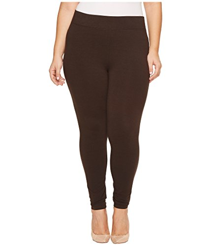 HUE Women's Plus Size Cotton Ultra Legging with Wide Waistband, Assorted, Espresso, 3X ()