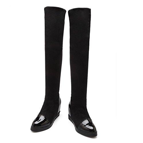 AllhqFashion Mujeres Sin cordones Puntera Redonda Caña Alta Cuña Plataforma Sólido Botas Negro
