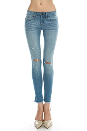 The Classic Women Junior'sKnee Skinny Slit Ankle Raw Edge Detail Denim Jeans in Light wash - 1 - Classic Raw Denim