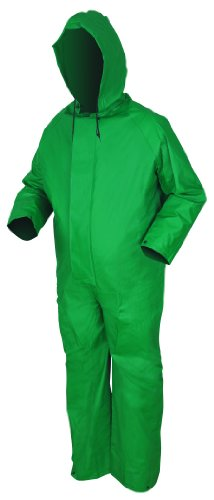 - MCR Safety 3881L Dominator PVC/Polyester Coverall with Attached Hood and Zipper Front, Green, Large