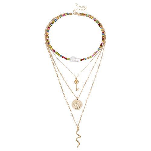 lightclub Women Multi-Layer Irregular Faux Pearl Beaded Snake Medal Key Pendant Necklace - Golden Elegant Necklace for Women