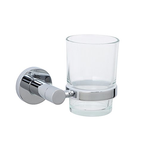 CRW Toothbrush Holder Wall Mounted Bathroom Tumbler Holder Chrome Stainless Steel Single Clear Glass - Holder Tumbler Wall Mount