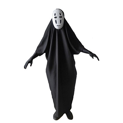 [Unisex Spirited Away No face male Cosplay Masks-Gloves Halloween Party Costume (L)] (Spirited Away No Face Costume)