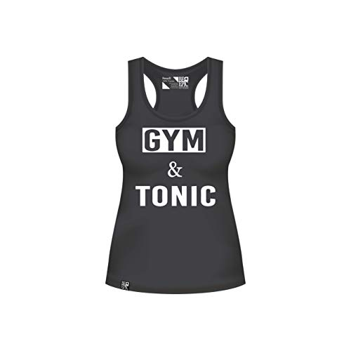 (Be Epic Clothing Tank Top for Women, Womens Cute Fitting Racerback Shirts, Workout, Fitness, Yoga Tops, Gym and Tonic (Large, Black))