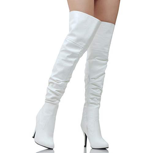Heel Platform Knee High - Guilty Heart | Women's Sexy Pull Up Over The Knee Thigh High | Hidden 1