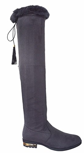 Other . Ladies Womens Flat Low Gold Heel High Over The Knee Boot Tassel Fur Zip Boots Size 3-8 Grey FB01