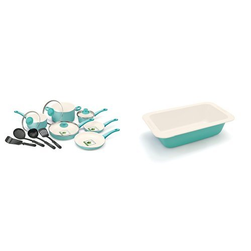 GreenLife 14 Piece Nonstick Ceramic Cookware Set with Soft Grip, Turquoise and GreenLife Non-Stick Loaf Pan, Turquoise Bundle by GreenLife (Image #1)