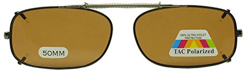 (50mm Easyclip Spring Metal Clip On Polarized Sunglasses for Reading Eyeglasses (Brown | Brown Lens, 50))