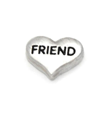 - Cherityne Silver Toned FRIEND Heart Floating Charm for Locket Pendants