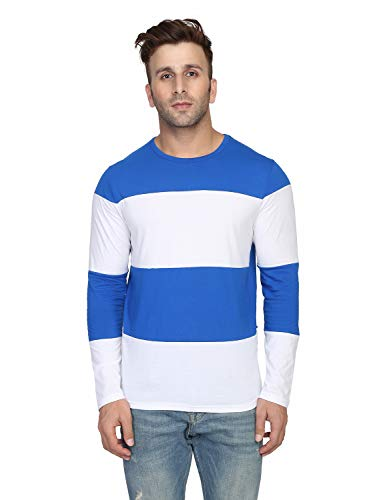 ROCKHARD Striped Men Round Neck Royal Blue  White T Shirt