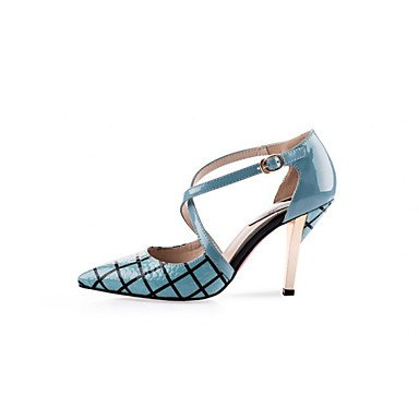 Punta Piel High Dedos Mujer Pumps párrafos Ternero de tacón Stiletto Heels azul cirior Mujeres x6zTHq1Tw