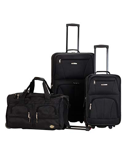 ROCKLAND MELBOURNE 3 PC ABS LUGGAGE SET BLACK