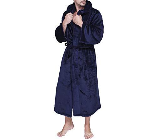 Con Lunga Accappatoi Manica Per Invernali Blue Robes L'uomo Lounge Robe Cappuccio Accappatoio Homewear Caldi Navy Sleep Morbido Lungo Uomo Peluche 5Xq80
