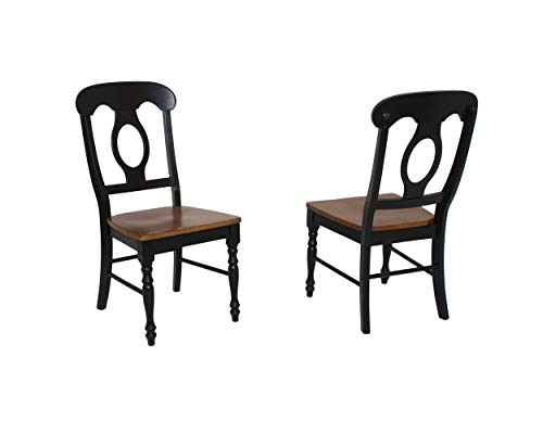 Sunset Trading Napoleon Dining Chair, Set of 2, Antique Black/Cherry ()