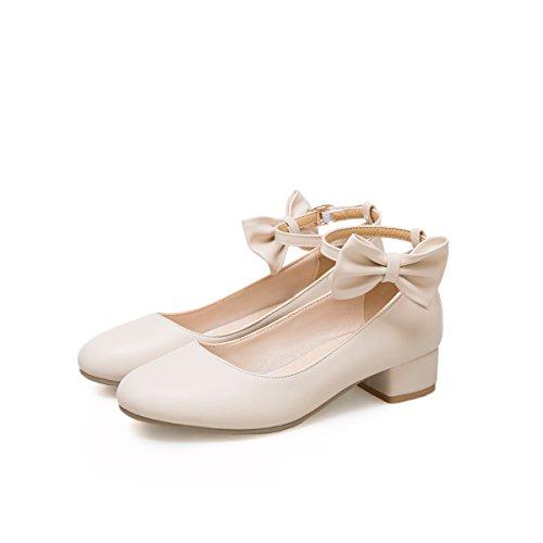 del Zapatos Redonda Las Cabeza Talón Mujeres Talones Qin Superficial Rice amp;X Bloque Boca White wStnp