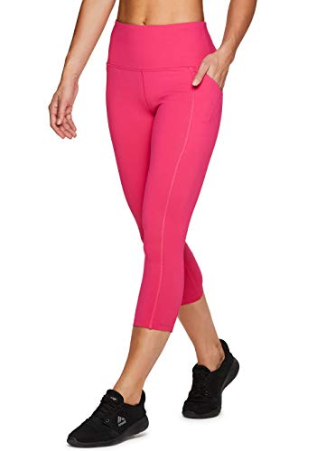 RBX Active Women's Power Hold High Waist Leggings with Pockets Hot Pink S (Pink Hot Yoga Pants)