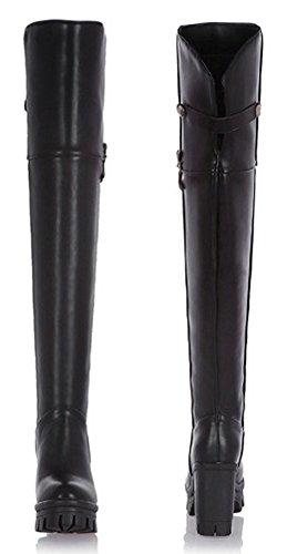 Aisun Femmes Mode Chunky Haut Talon Sur Les Bottes Au Genou Noir