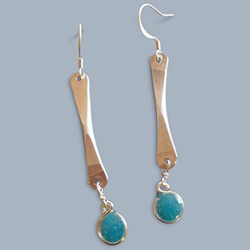 Bead Bar Earrings And - handmade lightweight aqua rustic bar drop earrings