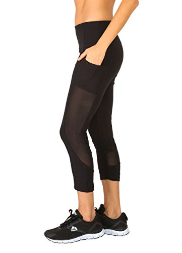 RBX Active Women's Power Capri with Mesh and Pockets Black M