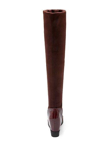 Zapatos 4 Eu us9 5 Cn33 Patentado Cuña Eu34 Xzz A us4 Cuñas Redonda Casual Mujer Tacón Uk2 Black Vestido 5 Botas Cuero Vellón De Moda Punta La Brown negro Cn41 Uk7 Eu40 2 RpqxF1d