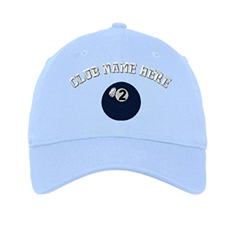 (Custom Low Profile Soft Hat Billards Pool Solids Ball 2 Embroidery Club Cotton Dad Hat Flat Solid Buckle - Light Blue, Personalized Text Here)